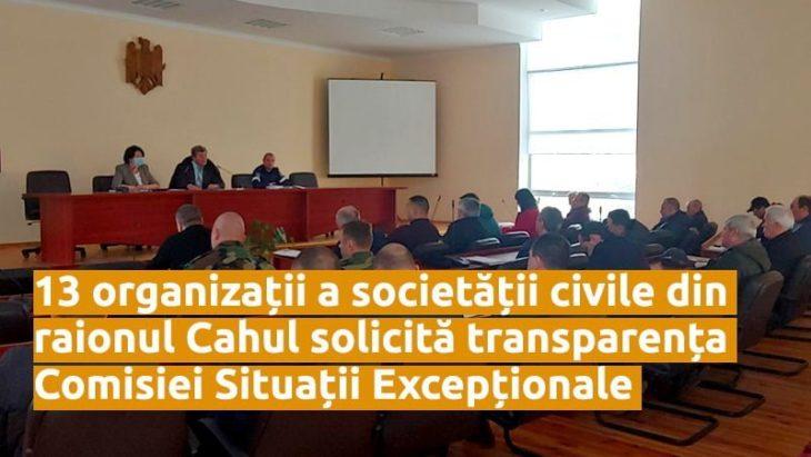13 organizații a societății civile din raionul Cahul solicită transparența Comisiei Situații Excepționale