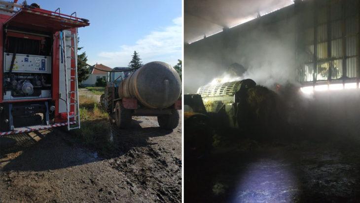 Incendiu pe teritoriul unei ferme de vite din Cahul: Trei echipaje de pompieri au luptat cu flăcările // FOTO