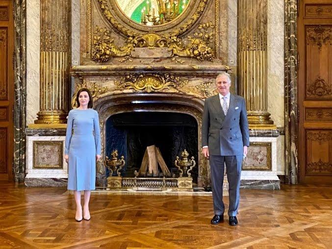 Președintele Maia Sandu s-a întâlnit, la Bruxelles, cu Regele Philippe al Belgiei