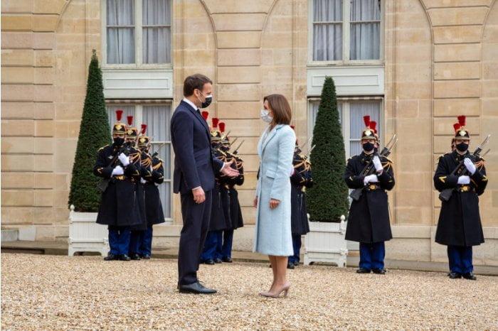 Președintele Maia Sandu a avut o întrevedere cu șeful statului francez, Emmanuel Macron