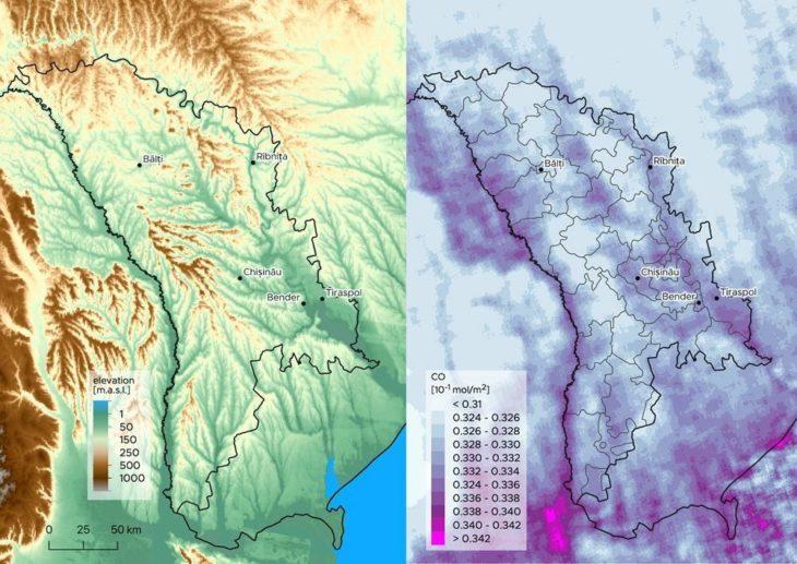 Imagini din satelit: Cât de poluat e aerul din R. Moldova și Cahul în pandemie