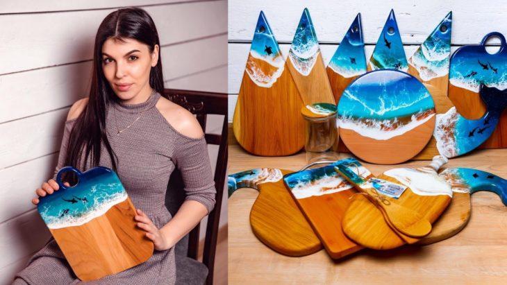 Face artă din lemn, vopsele și rășină epoxidică. Află istoria Mihaelei Cazac din Cahul /FOTO