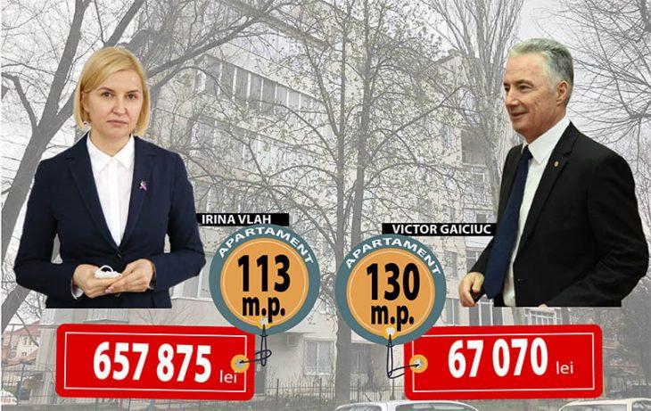 Vecini cu apartamente donate de părinți, Victor Gaiciuc și Irina Vlah. Locuința ministrului este, oficial, de zece ori mai ieftină decât a bașcanei