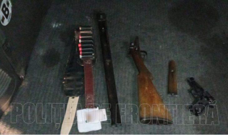 Noaptea în zona de frontieră din satul Văleni cu armă deținută ilegal și fără acte de identitate